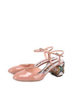 Rochas | Лаковые Туфли На Декорированном Каблуке