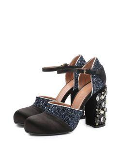 Marni | Текстильные Туфли С Глиттером На Каблуке С Кристаллами