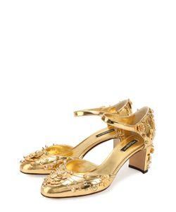 Dolce & Gabbana | Туфли Vally Из Металлизированной Кожи С Декором