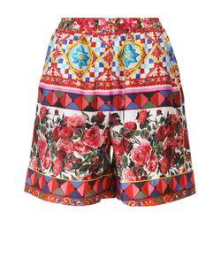 Dolce & Gabbana | Шелковые Мини-Шорты С Эластичным Поясом И Ярким Принтом