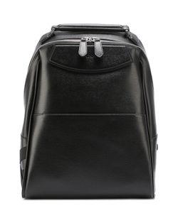 Canali | Кожаный Рюкзак С Внешним Карманом И Текстильной Отделкой