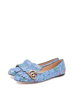 Gucci | Кожаные Балетки Marmont С Цветочным Принтом