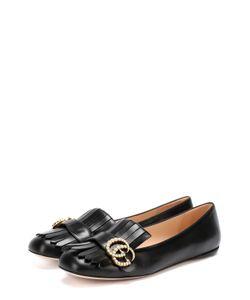Gucci | Кожаные Балетки Marmont С Бахромой И Пряжкой