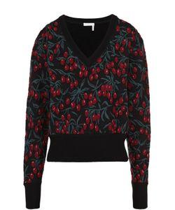 Chloe | Укороченный Пуловер С V-Образным Вырезом И Принтом Chloé
