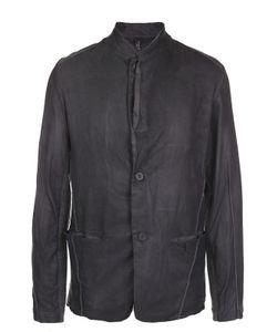 Transit   Кожаная Куртка На Пуговицах С Текстильными Вставками