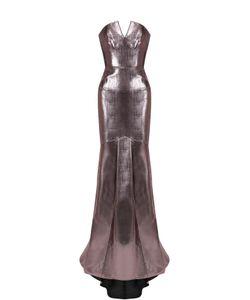 Roland Mouret | Приталенное Платье-Бюстье С Металлизированной Отделкой