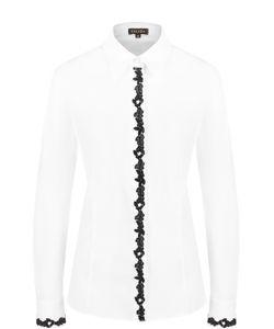 Escada | Приталенная Блуза С Контрастной Кружевной Отделкой