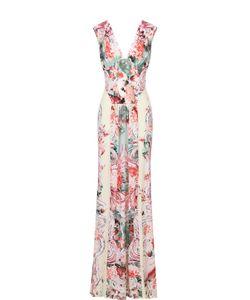 Roberto Cavalli | Приталенное Платье-Макси С Открытой Спиной И Ярким Принтом