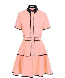 Kenzo | Шелковое Платье-Рубашка С Контрастным Воротником