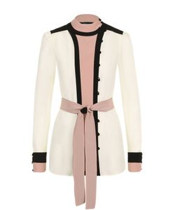 Valentino | Шелковая Блуза С Поясом И Воротником-Стойкой