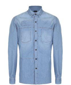 Lanvin | Хлопковая Рубашка С Накладным Карманом И Декоративной Заплаткой