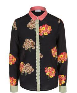 Red Valentino | Шелковая Блуза Прямого Кроя С Цветочной Вышивкой