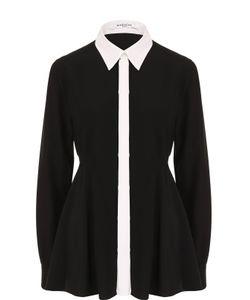 Givenchy | Шелковая Приталенная Блуза С Контрастным Воротником