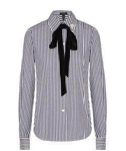 Marc Jacobs | Хлопковая Блуза В Полоску С Бархатным Воротником Аскот