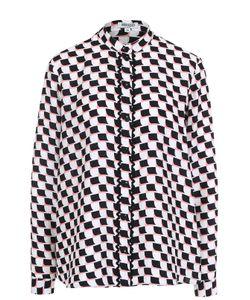 Kenzo | Шелковая Блуза Свободного Кроя С Контрастным Принтом