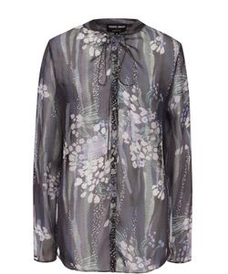 Giorgio Armani | Шелковая Полупрозрачная Блуза С Принтом