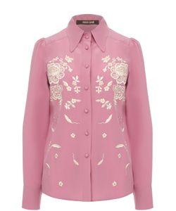 Roberto Cavalli | Приталенная Шелковая Блуза С Вышивкой