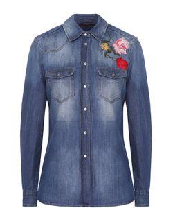 7 for all mankind | Приталенная Джинсовая Блуза С Цветочной Вышивкой