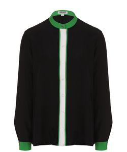 Kenzo | Шелковая Блуза Прямого Кроя С Контрастной Отделкой