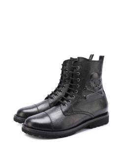 Philipp Plein | Высокие Кожаные Ботинки На Шнуровке