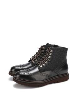 H`D`S`N Baracco | Кожаные Ботинки С Текстильной Отделкой На Шнуровке
