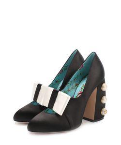 Gucci | Атласные Туфли Luna На Декорированном Каблуке