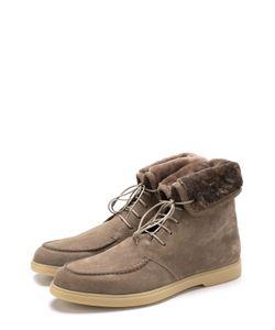 Santoni | Замшевые Ботинки На Шнуровке С Внутренней Меховой Отделкой