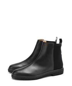 Sergio Rossi | Кожаные Ботинки С Текстильной Отделкой