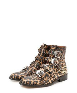 Givenchy | Кожаные Ботинки С Заклепками И Рисунком Под Леопарда