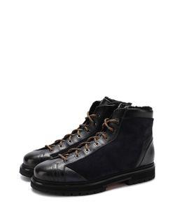 Santoni | Высокие Комбинированные Ботинки На Шнуровке С Внутренней Меховой Отделкой