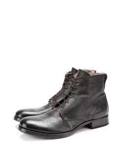 Moma | Высокие Кожаные Ботинки На Шнуровке С Внутренней Меховой Отделкой