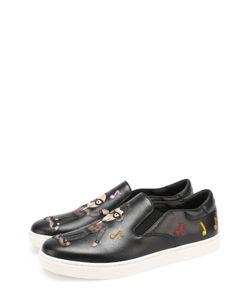 Dolce & Gabbana | Кожаные Слипоны London С Аппликациями
