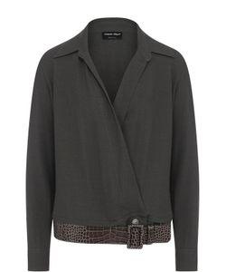 Giorgio Armani   Однотонная Блуза С V-Образным Вырезом И Ремнем