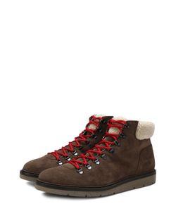 Hogan | Высокие Замшевые Ботинки На Шнуровке С Внутренней Меховой Отделкой