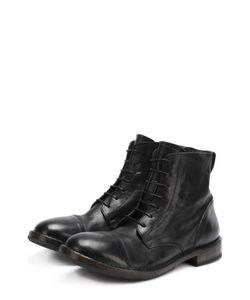 Moma | Высокие Кожаные Ботинки На Шнуровке С Круглым Мысом