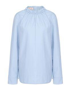 Marni | Хлопковая Блуза С Круглым Вырезом И Драпировкой