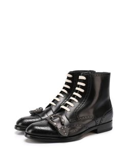 Gucci   Высокие Кожаные Ботинки Queercore С Брогированием И Декоративной Пряжкой