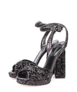 Dolce & Gabbana | Босоножки С Вышивкой Пайетками На Устойчивом Каблуке