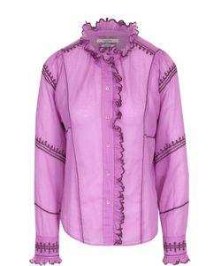 Isabel Marant Étoile | Приталенная Хлопковая Блуза С Контрастной Отделкой