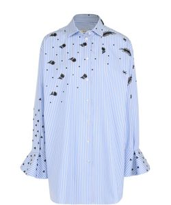 Valentino   Удлиненная Блуза В Полоску С Контрастной Вышивкой