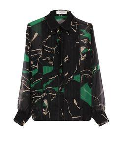 Valentino   Шелковая Полупрозрачная Блуза С Принтом