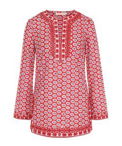 Tory Burch | Хлопковая Блуза С Цветочным Принтом И Круглым Вырезом