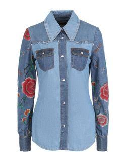 Roberto Cavalli | Джинсовая Приталенная Блуза С Декорированными Рукавами