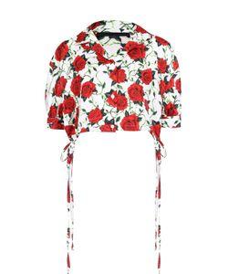 Alexander Wang | Укороченная Шелковая Блуза С Цветочным Принтом