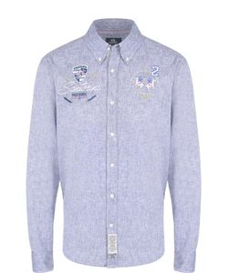 La martina | Рубашка Из Смеси Хлопка И Льна С Воротником Button Down La
