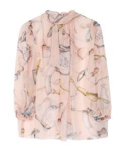Dolce & Gabbana | Шелковая Полупрозрачная Блуза С Воротником Аскот