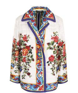 Dolce & Gabbana | Шелковое Стеганое Пальто С Принтом