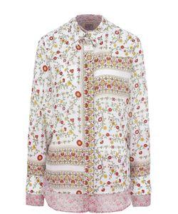 No. 21   Шелковая Блуза Свободного Кроя С Цветочным Принтом
