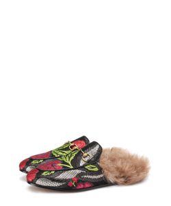Gucci | Сабо Princetown Из Текстиля С Цветочной Вышивкой