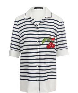 Dolce & Gabbana | Шелковая Блуза В Пижамном Стиле В Полоску